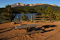 /images/133/2007-06-22-pikes-picnic-table.jpg - #04040: Picnic table at Crystal Reservoir with Pikes Peak in the background … June 2007 -- Crystal Reservoir, Pikes Peak, Colorado