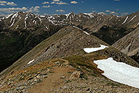 /images/133/2007-06-23-plata-view-down.jpg - #04068: Mt Elbert and other peaks - View along La Plata Peak trail  … June 2007 -- La Plata Peak, Colorado