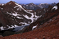 /images/133/2007-06-30-evans-bier05.jpg - #04133: Abyss Lake (12,620 ft) in front of Mt Bierstadt (14,060 ft) on the left continuing into Sawtooth on the right … view from Mt Evans … June 2007 -- Abyss Lake, Mt Bierstadt, Colorado
