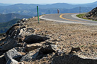 /images/133/2007-06-30-evans-road-bike.jpg - #04101: lone rider biking up Mount Evans Road at 9am  … June 2007 -- Mount Evans Road, Mt Evans, Colorado