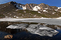 /images/133/2007-06-30-evans-sum-lake01.jpg - #04106: Ice floating on Summit Lake, elevation 12,600 ft  … June 2007 -- Summit Lake, Mt Evans, Colorado