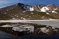 /images/133/2007-06-30-evans-sum-lake02.jpg - #04107: Ice floating on Summit Lake, elevation 12,600 ft  … June 2007 -- Summit Lake, Mt Evans, Colorado