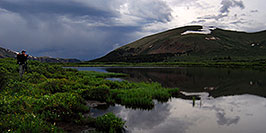 /images/133/2007-07-07-biers-ref-phot-pano.jpg - #04205: Photographer looking at Mt Bierstadt … evening reflections … July 2007 -- Guanella Pass, Mt Bierstadt, Colorado