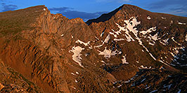 /images/133/2007-07-08-biers-late-eve-pano.jpg - #04223: Last rays of light on The Sawtooth (13,780 ft, left) and Mt Bierstadt (14,060 ft, right) … July 2007 -- The Sawtooth, Mt Bierstadt, Colorado