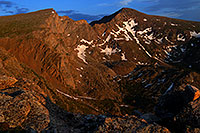 /images/133/2007-07-08-biers-late-eve.jpg - #04222: Last rays of light on The Sawtooth (13,780 ft, left) and Mt Bierstadt (14,060 ft, right) … July 2007 -- The Sawtooth, Mt Bierstadt, Colorado