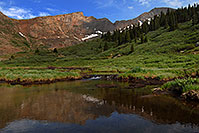 /images/133/2007-07-08-biers-reflectio1.jpg - #04225: Reflections of The Sawtooth (13,780 ft, middle) and Mt Bierstadt (14,060 ft, right) … July 2007 -- The Sawtooth, Mt Bierstadt, Colorado
