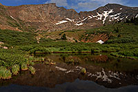 /images/133/2007-07-08-biers-reflectio2.jpg - #04226: Reflections of The Sawtooth (13,780 ft, middle) and Mt Bierstadt (14,060 ft, right) … July 2007 -- The Sawtooth, Mt Bierstadt, Colorado