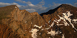 /images/133/2007-07-08-biers-saw-eve1-pano.jpg - #04235: The Sawtooth (13,780 ft, left) and Mt Bierstadt (14,060 ft, right) … July 2007 -- The Sawtooth, Mt Bierstadt, Colorado