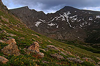 /images/133/2007-07-08-biers-scenic01.jpg - #04239: The Sawtooth (13,780 ft, left) and Mt Bierstadt (14,060 ft, right) … July 2007 -- The Sawtooth, Mt Bierstadt, Colorado