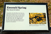 /images/133/2007-07-21-y-kepler-emer03.jpg - #04308: Emerald Spring sign in Kepler Cascades - 27 foot deep pool with sulfur deposits … July 2007 -- Kepler Cascades, Yellowstone, Wyoming
