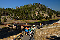 /images/133/2007-07-21-y-mid-bridge03.jpg - #04321: People returning from Excelsior Geyser Crater on a bridge over Firehole River … July 2007 -- Lower Geyser Basin, Yellowstone, Wyoming