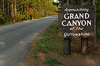 /images/133/2007-07-23-y-grand-sign-appr.jpg - #04375: Approaching Grand  Canyon of the Yellowstone sign … July 2007 -- Canyon Village, Yellowstone, Wyoming