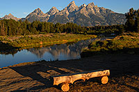 /images/133/2007-07-24-tetons-morn-bench.jpg - #04418: Bench in front of Snake River with Tetons in the morning … July 2007 -- Tetons, Wyoming