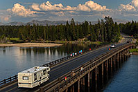 /images/133/2007-07-28-y-fish-bridge02.jpg - #04558: Motorhome on Fishing Bridge, over Yellowstone River … July 2007 -- Fishing Bridge, Yellowstone, Wyoming