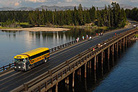 /images/133/2007-07-28-y-fish-bridge03.jpg - #04559: Yellow Yellowstone Park bus on Fishing Bridge, over Yellowstone River … July 2007 -- Fishing Bridge, Yellowstone, Wyoming