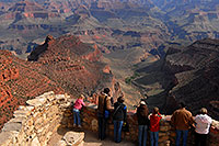 /images/133/2008-04-02-gc-top-9357.jpg - #05127: Girl in pink and people enjoying views from Lookout Studio in Grand Canyon … April 2008 -- Lookout Studio, Grand Canyon, Arizona
