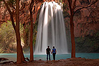 /images/133/2008-04-04-hav-havasu-0019.jpg - #05119: Matt and Jen by Cottonwood trees at Havasu Falls - 120 ft drop (37 meters) … April 2008 -- Havasu Falls, Arizona