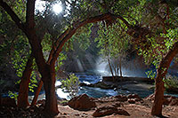 /images/133/2008-04-22-hav-morn-3548.jpg - #05337: Morning sun rays at Havasu Falls - 120 ft drop (37 meters) … April 2008 -- Havasu Falls, Arizona