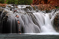 /images/133/2008-05-18-hav-jump-co8377.jpg - #05339: Beaver Falls - 40 foot drop (12 m) … May 2008 -- Beaver Falls, Havasu Falls, Arizona
