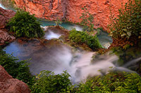 /images/133/2008-05-18-hav-moon-cr-8298.jpg - #05426: A spring flowing into Havasu Creek below - near Mooney Falls … May 2008 -- Havasu Creek, Havasu Falls, Arizona