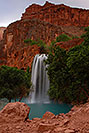 /images/133/2008-05-20-hav-above-9288v.jpg - #05434: Havasu Falls - 120 ft drop (37 meters) … May 2008 -- Havasu Falls!, Havasu Falls, Arizona