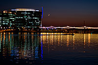 /images/133/2008-10-01-tempe-lake-31493.jpg - #05972: 8 person sculling boat at Tempe Town Lake under a crescent moon … October 2008 -- Tempe Town Lake, Tempe, Arizona