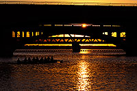 /images/133/2008-10-09-tempe-scullers-33734.jpg - #05933: 8 person sculling boat under Mill Road bridge at sunset at Tempe Town Lake … October 2008 -- Tempe Town Lake, Tempe, Arizona