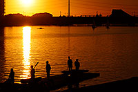 /images/133/2008-10-24-tempe-lake-38461.jpg - #05961: Scullers at sunset at North Bank Boat Ramp at Tempe Town Lake … October 2008 -- Tempe Town Lake, Tempe, Arizona