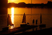 /images/133/2008-10-26-tempe-sailboats-40035.jpg - #05974: Kids Sailboats at North Bank Boat Ramp at sunset at Tempe Town Lake … October 2008 -- Tempe Town Lake, Tempe, Arizona