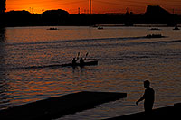 /images/133/2008-10-28-tempe-night-41083.jpg - #05976: Kayakers at sunset at North Bank Boat Ramp at Tempe Town Lake … October 2008 -- Tempe Town Lake, Tempe, Arizona