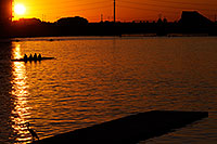 /images/133/2008-10-29-tempe-heron-41448.jpg - #05979: Scullers and Great Blue Heron at North Bank Boat Ramp at sunset at Tempe Town Lake … October 2008 -- Tempe Town Lake, Tempe, Arizona