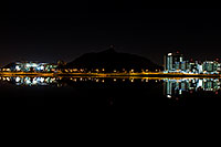 /images/133/2008-11-01-tempe-night-42195.jpg - #05989: Night reflections of ASU, A Mountain and Buildings at Tempe Town Lake … November 2008 -- Tempe Town Lake, Tempe, Arizona