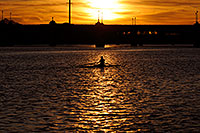 /images/133/2008-11-11-tempe-sculling-45480.jpg - #06020: Sculler at sunset on Mill Road bridge over Tempe Town Lake … November 2008 -- Tempe Town Lake, Tempe, Arizona