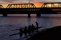 /images/133/2008-11-11-tempe-sculling-45709.jpg - #06022: Scullers at sunset on North Bank Boat Beach at Tempe Town Lake … November 2008 -- Tempe Town Lake, Tempe, Arizona