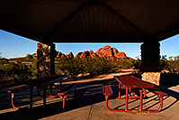 /images/133/2008-12-05-papago-view-59873.jpg - #06347: Picnic tables in a Ramada at Papago Park - Eliot Ramada Trail … December 2008 -- Papago Park, Phoenix, Arizona