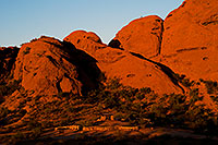 /images/133/2008-12-05-papago-view-top-60156.jpg - #06404: Ramada by the Buttes of Papago Park and a hiker on top … December 2008 -- Papago Park, Phoenix, Arizona