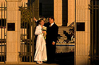/images/133/2008-12-26-mesa-temple-brides-67611.jpg - #06618: Bride and Groom at West side of Mesa Arizona Temple … December 2008 -- Mesa Arizona Temple, Mesa, Arizona