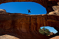 /images/133/2010-09-11-arches-doubleo-33220.jpg - #08647: Frog jumping at Double O Arch in Arches National Park … September 2010 -- Double O Arch, Arches Park, Utah