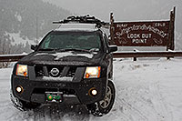 /images/133/2011-01-09-ouray-sign-48986.jpg - #09154: Xterra at the lookout point over Ouray … January 2011 -- Ouray, Colorado