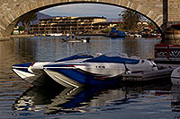 /images/133/2011-04-02-havasu-bridge-boat-65581.jpg - #09209: Boat at London Bridge in Lake Havasu City … April 2011 -- London Bridge, Lake Havasu City, Arizona