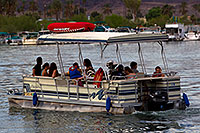 /images/133/2011-04-02-havasu-bridge-boat-65616.jpg - #09185: Pontoon boat near London Bridge in Lake Havasu City … April 2011 -- London Bridge, Lake Havasu City, Arizona