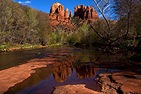 /images/133/2011-04-10-sedona-cat-river-66386.jpg - #09189: Cathedral Rock and Oak Creek in Sedona … April 2011 -- Cathedral Rock, Sedona, Arizona