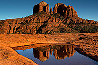 /images/133/2011-04-10-sedona-cat-waterholes-66409.jpg - #09228: Cathedral Rock reflection in Sedona … April 2011 -- Cathedral Rock, Sedona, Arizona