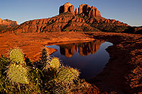 /images/133/2011-04-10-sedona-cat-waterholes-66427.jpg - #09229: Cathedral Rock reflection in Sedona … April 2011 -- Cathedral Rock, Sedona, Arizona