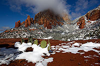 /images/133/2011-04-10-sedona-coffeepot-66319.jpg - #09234: Morning snow view of Prickly Pear Cactus and Thunder Mountain (Capital Butte) in Sedona … April 2011 -- Thunder Mountain, Sedona, Arizona