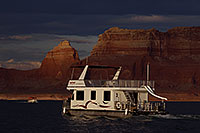 /images/133/2011-07-11-powell-boats-82505.jpg - #09412: Houseboat in the evening at Lake Powell … July 2011 -- Lake Powell, Arizona