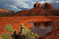 /images/133/2011-08-01-sedona-waterholes-89501.jpg - #09402: Rainbow by Cathedral Rock in Sedona … August 2011 -- Cathedral Rock, Sedona, Arizona