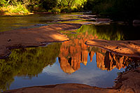 /images/133/2011-08-08-sedona-cathedral-89685.jpg - #09462: Cathedral Rock reflection in Oak Creek in Sedona … August 2011 -- Cathedral Rock, Sedona, Arizona