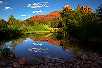 /images/133/2011-08-11-sedona-cathedral-pond-90399.jpg - #09472: Cathedral Rock reflection in Sedona … August 2011 -- Cathedral Rock, Sedona, Arizona