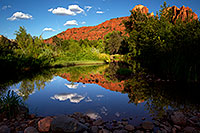 /images/133/2011-08-11-sedona-cathedral-pond-90404.jpg - #09473: Reflection of Cathedral Rock in Sedona … August 2011 -- Cathedral Rock, Sedona, Arizona